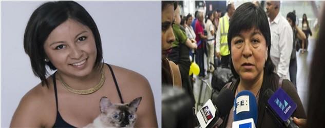 Nathaly Salazar, a la derecha Alexandra Ayala, madre de la joven desaparecida, a la salida de los juzgados en Cuzco