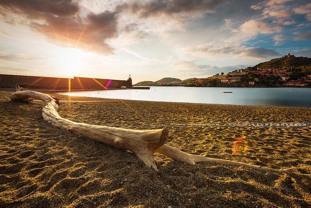 Lever de soleil sur la plage de Collioure