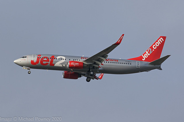 G-DRTY - 2003 build Boeing B737-8AS, inbound to Manchester fresh from re-paint at East Midlands