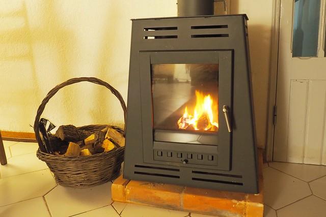 Wood burning stove and wood basket