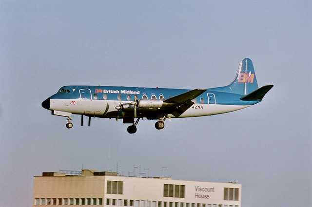Suspended animation - BMA Vickers 813 Viscount G-AZNA of BMA on finals for runway 28L at London Heathrow
