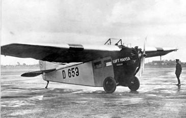 Avion monoplan en 1924 Focke-Wulf A.16 moteur Junkers Lufthansa D653