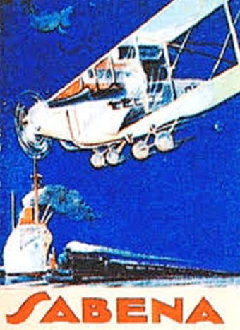 Affiche compagnie aérienne SABENA biplan transport train fond Aériastory