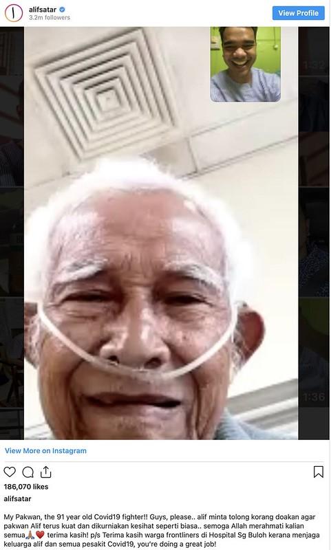 Berusia 91 Tahun, Datuk Kepada Alif Satar Turut Positif Covid-19