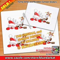 #Funny #Santa and #Reindeer #Cartoon #Stickers🎄 #Design under #exclusive © #BluedarkArt #TheChameleonArt