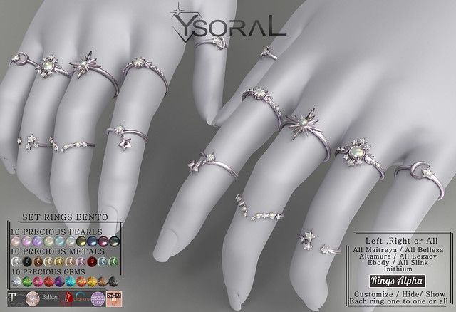 ~~ Ysoral ~~.:Luxe Set 8 Rings Stars:.(BENTO)