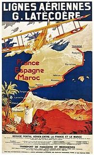 Affiche lignes aériennes Latécoère France Espagne Maroc - collection Gérard Lerouge