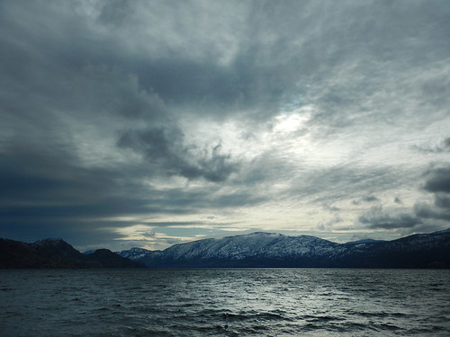Sky over the lake on a cold, cold day in Peachland in the BC Okanogan, Canada