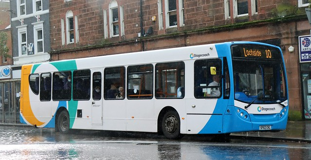 Stagecoach Western 28670 SF62CKL in Burns Statue Square, Dumfries, working local area services.