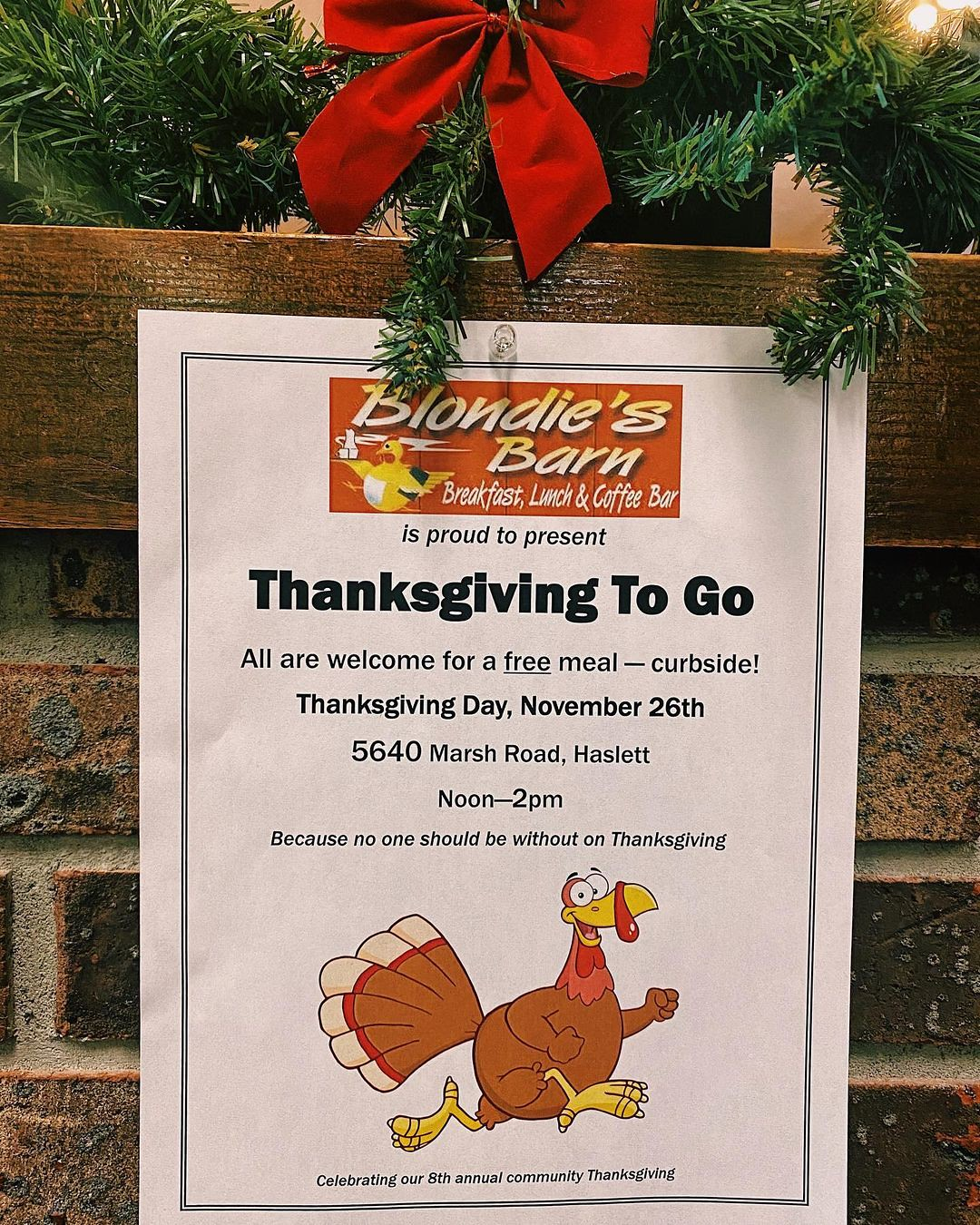 Blondie's Barn 8th Annual Thanksgiving Dinner Will Be To-Go This Year