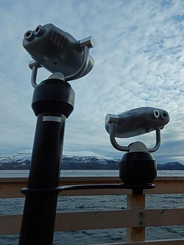 Public binoculars at the beach in Peachland in the BC Okanogan, Canada