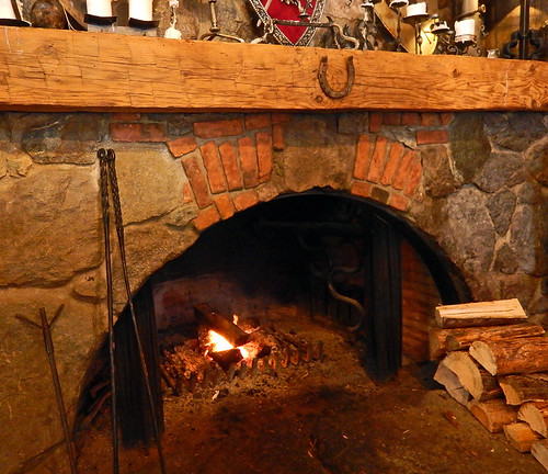 Fireplace in the Gasthaus Restaurant in Peachland in the BC Okanogan, Canada
