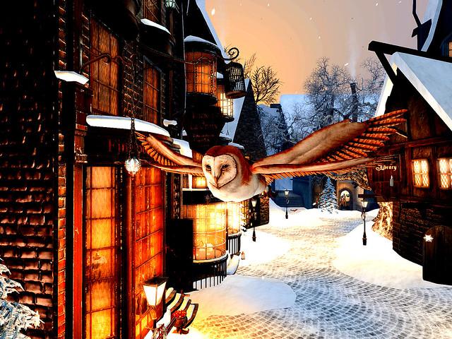 A Wizard's Winter Owl In  Flight