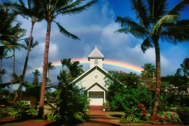 Charming little church with double rainbow, Maui, Hawaii