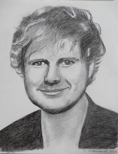 Ed Sheeran - Pencil Drawing by STEVEN CHATEAUNEUF (2020)
