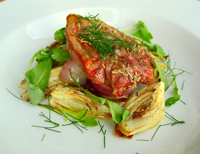 New Season Local Lamb, Rocket Salad with Fennel Bulb and Fronds
