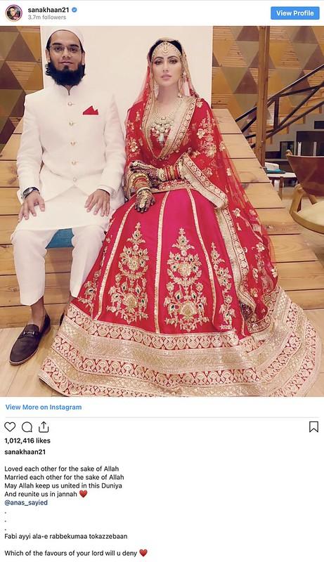 Aktres Filem 'Jai Ho' Sana Khan Bernikah Dengan Ulama, Mufti Anas