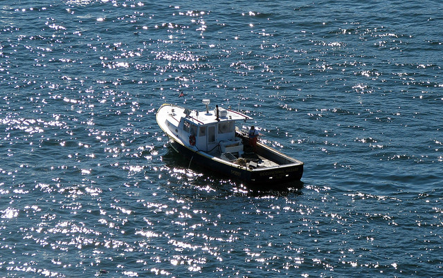 Lobster boat (offshore Hunters Head, Mt. Desert Island, Maine, USA)