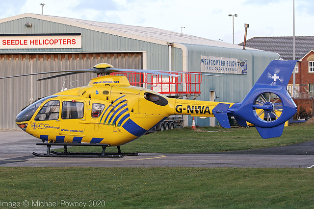 G-NWAA - 2005 build Eurocopter EC135T-2, on standby at Blackpool