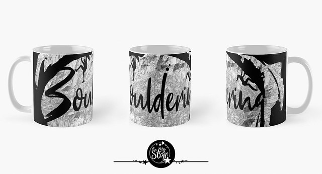 Bouldering mugs in black with silver gray rock structure mountain wall