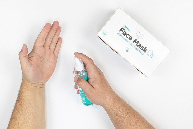 Hygiene of the hands and box with face masks
