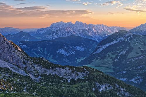 landscape morning mountains austria sunrise