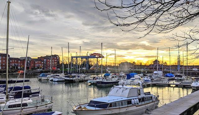 Light of the marina at Preston