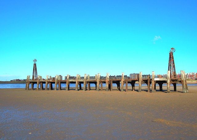 Old jetty on the beach at St Anne's in Lancashire