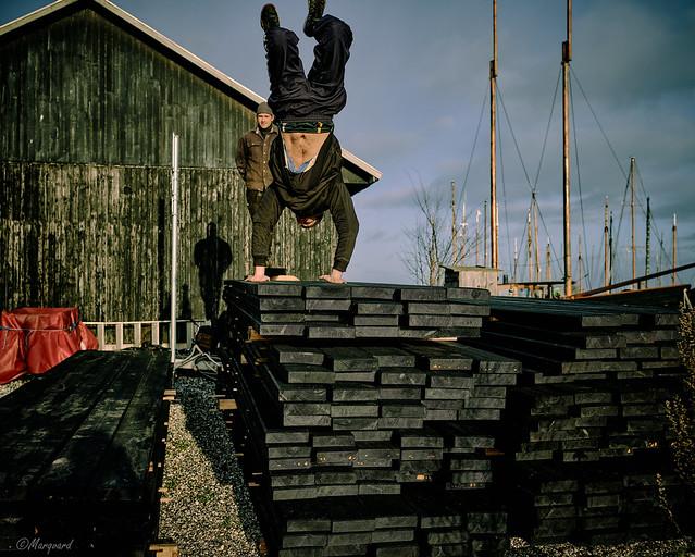 Junge Leute spielen im Aarhuser Hafen-1, Dänemark