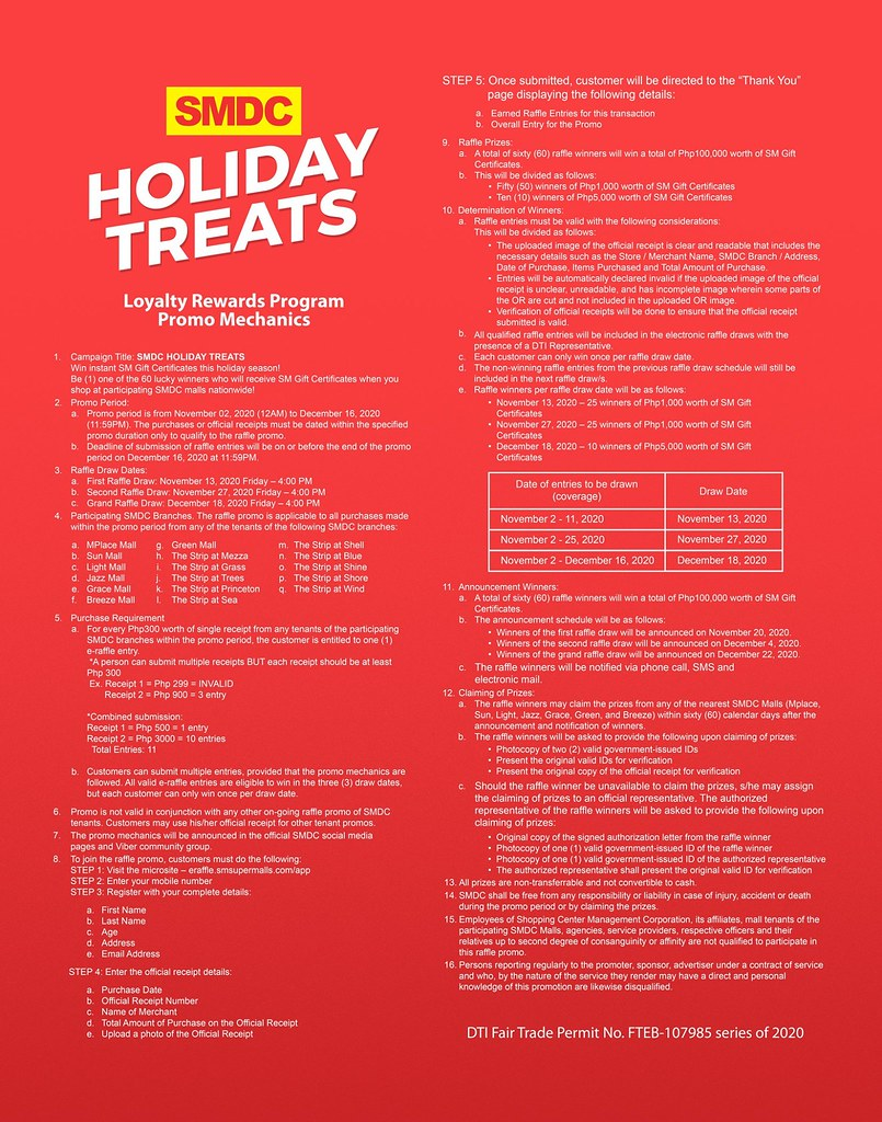 Win Instant Gift Certificate with SMDC Holiday Treat 2020