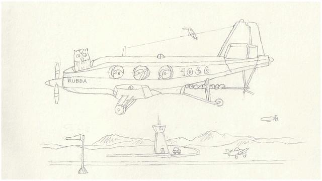 Sketchbook Page, work-in-progress | Rubba Band Birdie Airplane
