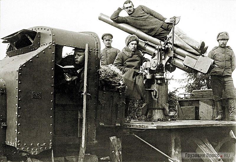 Бронированная зенитка Путиловского завода на шасси «Руссо-Балт Т 40/65». Западный фронт, 1915 г.