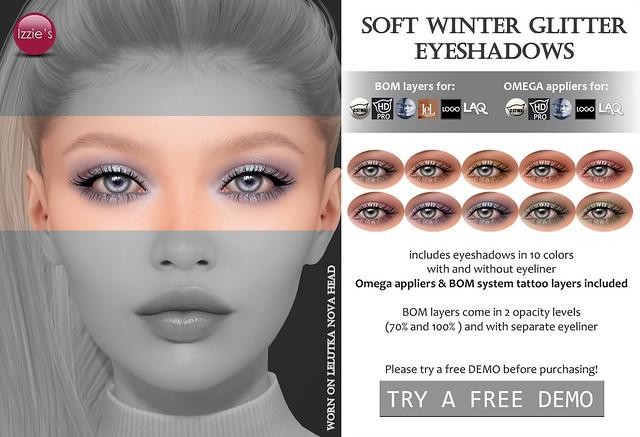 Soft Winter Glitter Eyeshadows (Uber)