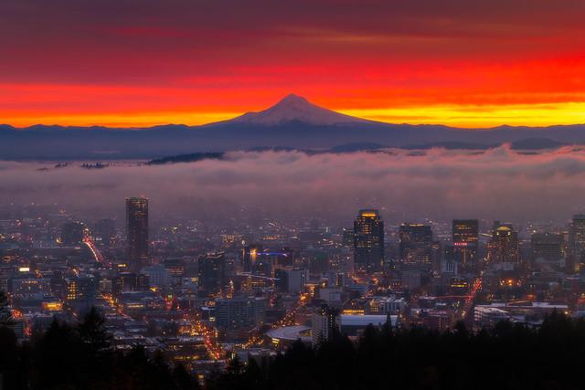 Mt. Hood over Downtown Portland