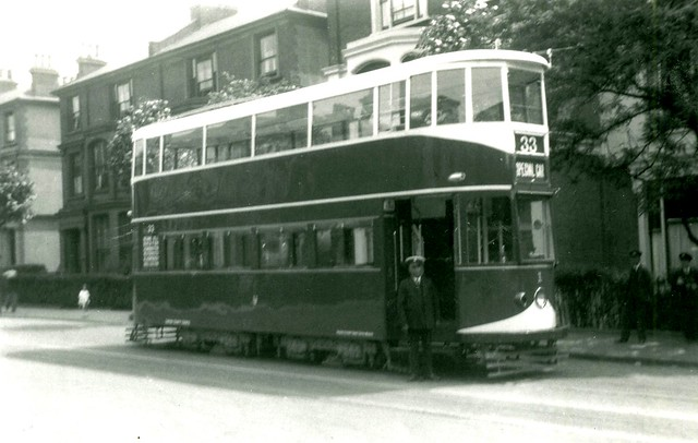 """19 May 1932 - Experimental  London Tram No. 1 in """"Bluebird"""" livery."""