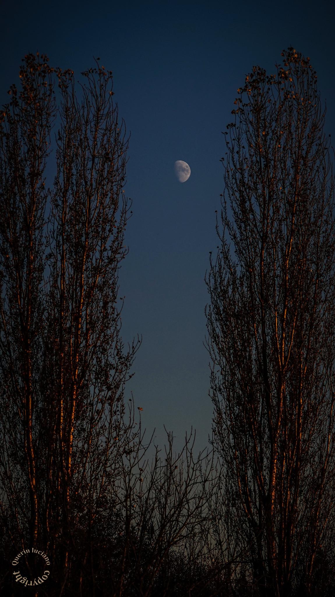 La luna saluta il sole che sta tramontando