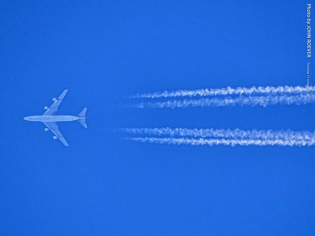 Kalitta Air 747 (LA to New York Stewart) flying over Olathe, 11 June 2020