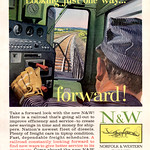 Sat, 2013-12-07 15:29 - Norfolk & Western Railway.  Looking just one way … Forward!  The ever vigilant engineer's eye.
