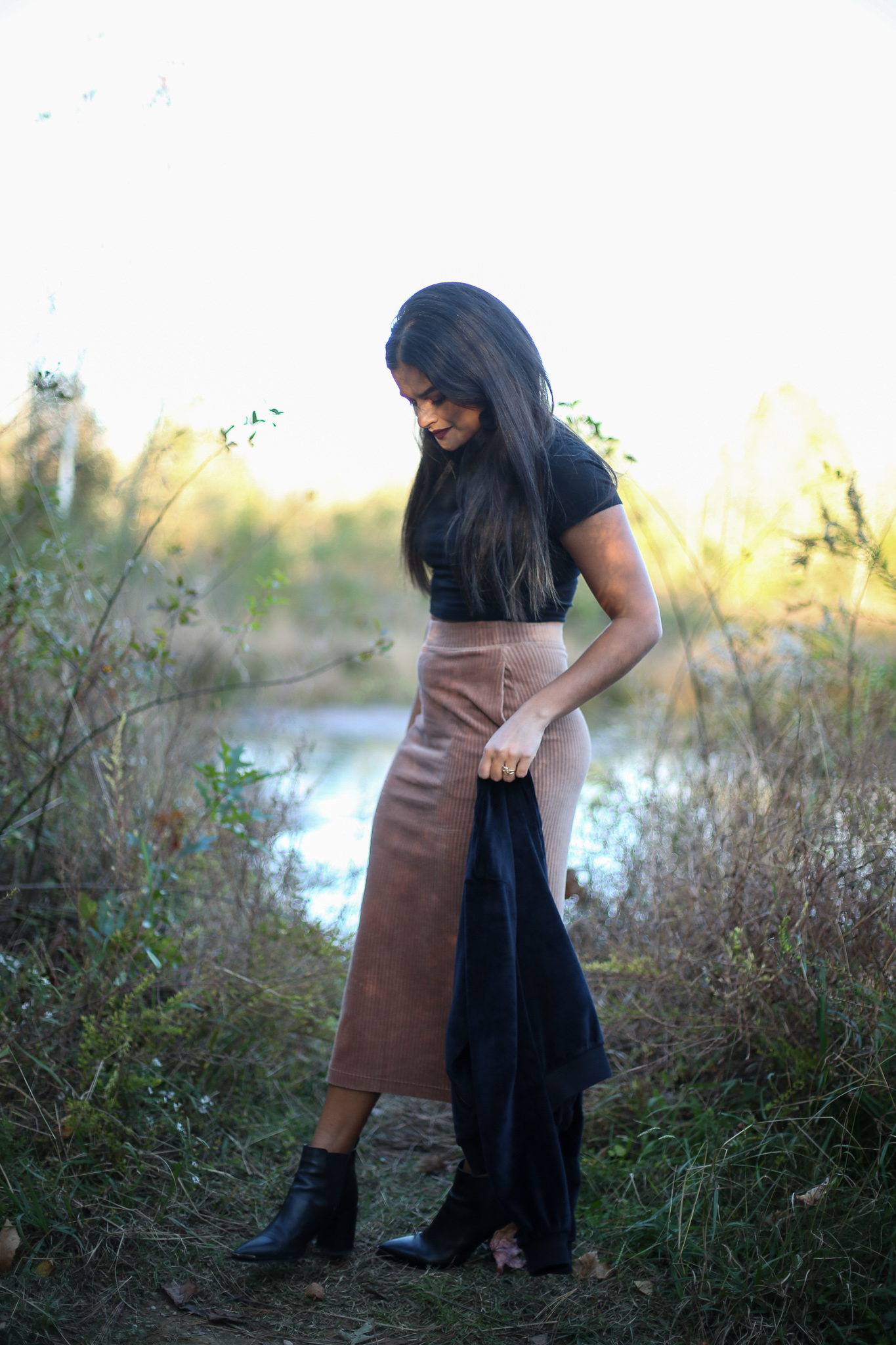 Priya the Blog, Nashville fashion blog, Nashville style blog, Nashville fashion blogger, Nashville style blogger, corduroy midi skirt, how to style a corduroy midi skirt, velvet jacket, black crop top, black pointed toe booties, Fall outfit, Fall style, Fall fashion, how to style a black crop top