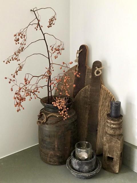 Hoekje keuken landelijke decoratie
