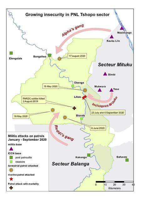 map showing where patrols met gunfire in 2020