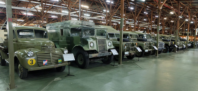 Rows of retired but fully working miltary vehicles on display at the Army Museun, Bandiana VIC