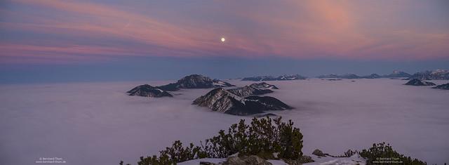 Dusk Panorama with full moon and Benediktenwand group