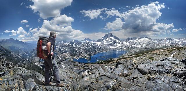 Hiker on crest N of Thousand Island Lake - Sierra