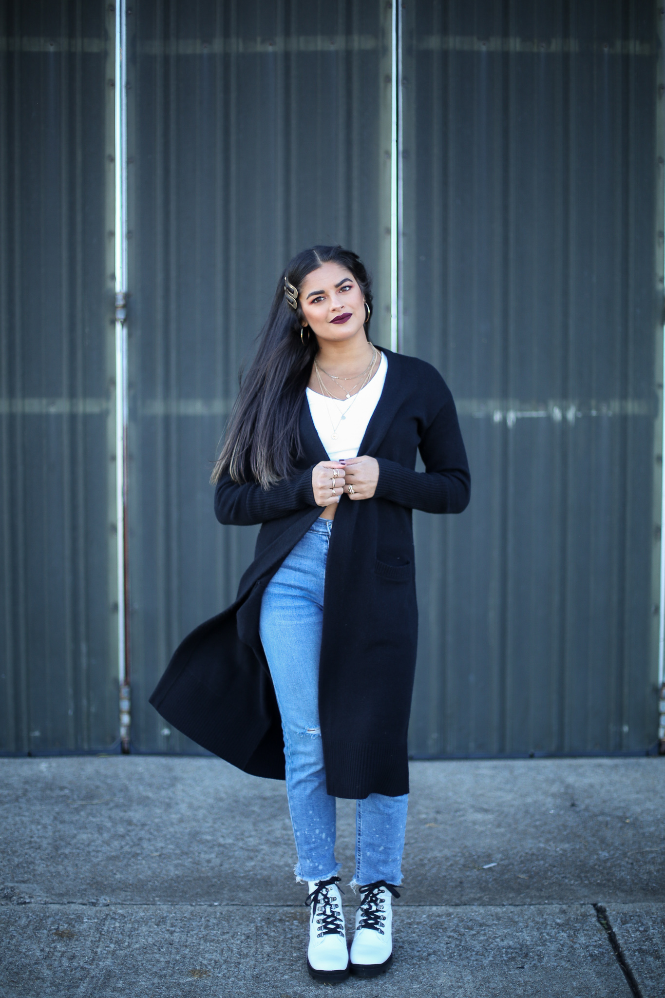 Priya the Blog, Nashville fashion blog, Nashville fashion blogger, Nashville style blog, Nashville style blogger, Nashville lifestyle blog, 2021 Goals, white combat boots, girlfriend jeans, white crop tee, long black cardigan, how to style white combat boots,