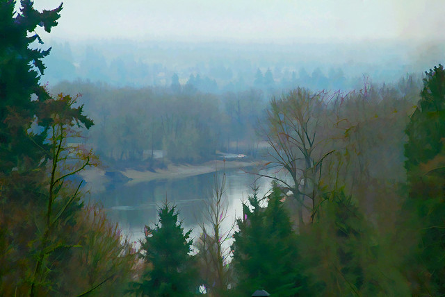 Willamette River in the mist