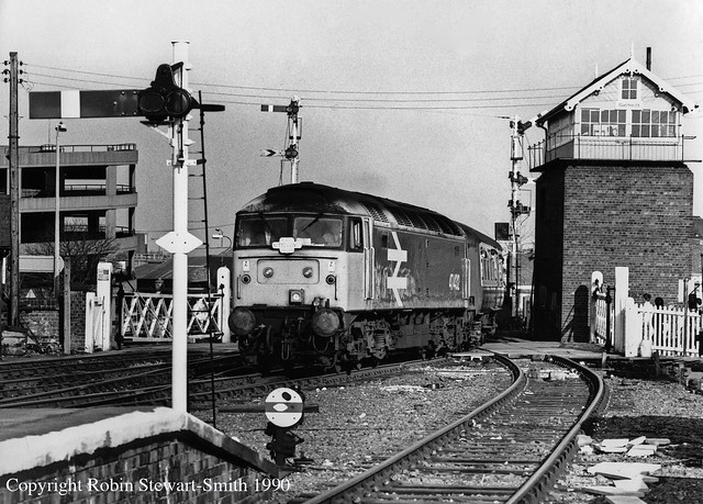 BR Class 47 No 47432 heading the RDS Notts & Lincs Rambler Railtour arrives at Grimsby Station on 17th March 1990