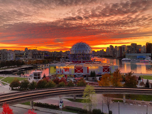 sun clouds sky view west coast vancouver yvr false creek colourful orange red 604 vancity bc evening sunset science world