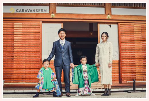 永保寺で七五三の前撮り 家族写真