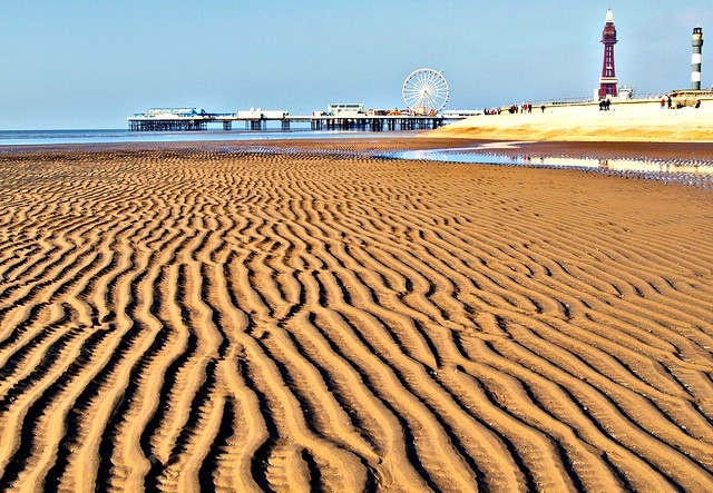 Ripples on the beach at Blackpool in Lancashire